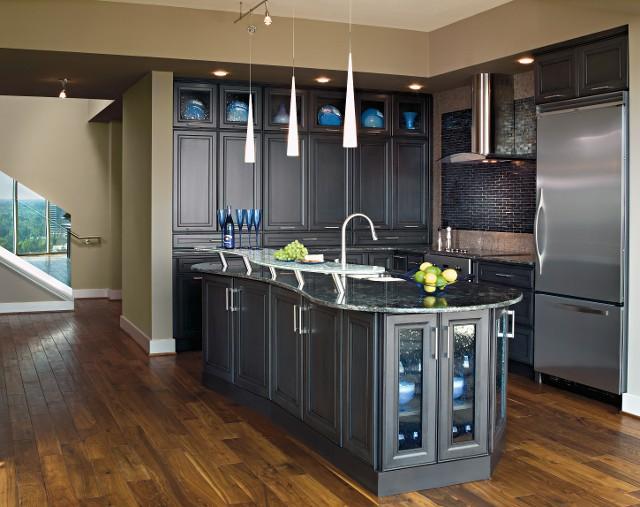 Decora Weathered Black Kitchen Cabinets